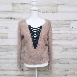 Express Super Soft Fuzzy Lace Up Sweater